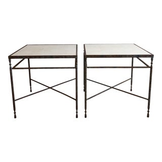 Vintage X Stretcher Iron Patinated End Tables With Marble Tops - a Pair For Sale