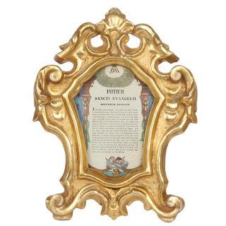 19th Century Carved & Gilded Cantagloria Altar Card Frame For Sale