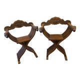 Image of Vintage Savonarola Style Wood Folding Chairs- A Pair For Sale