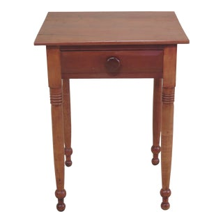 Antique Country Cherry 1 Drawer Farm Table Nightstand For Sale