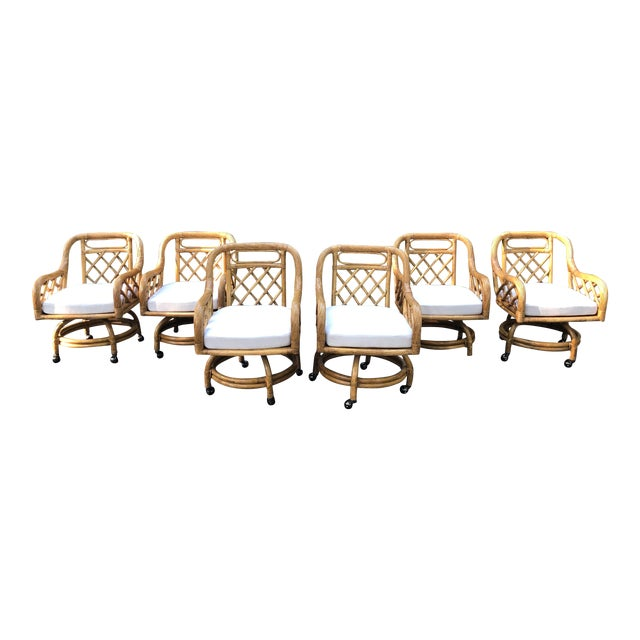 Mid-Century Franco Albini Style Rattan Swivel Dining Chairs - Set of 6 For Sale