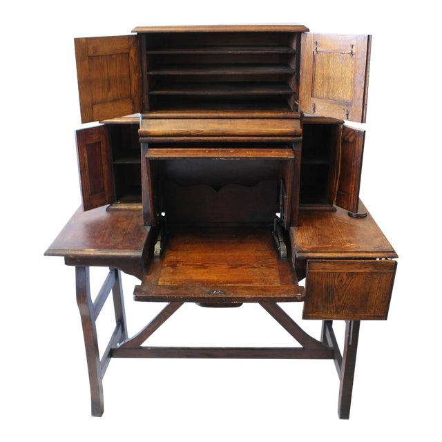 Early 20th C. Antique American Industrial Mechanical Desk For Sale
