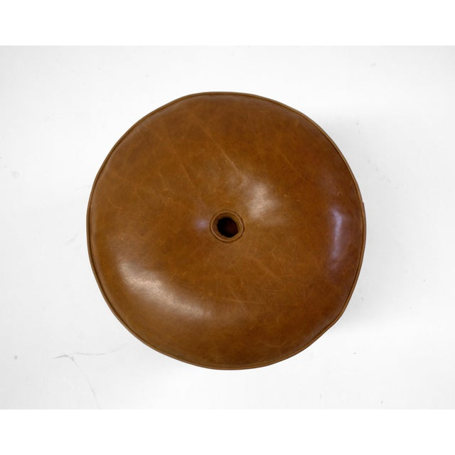 Round Leather Pouf on Dark Mahogany Base With Circular Detail at Seat For Sale - Image 4 of 6