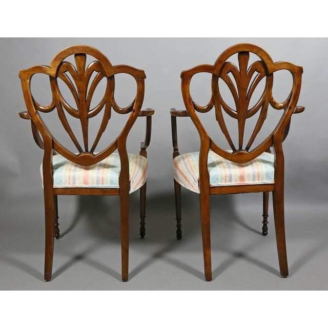 Pair of Edwardian Finely Carved Mahogany Armchairs For Sale - Image 4 of 10