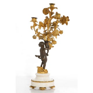 19th Century Antique Louis XV Style Bronze & Marble Figural Candelabrum Preview