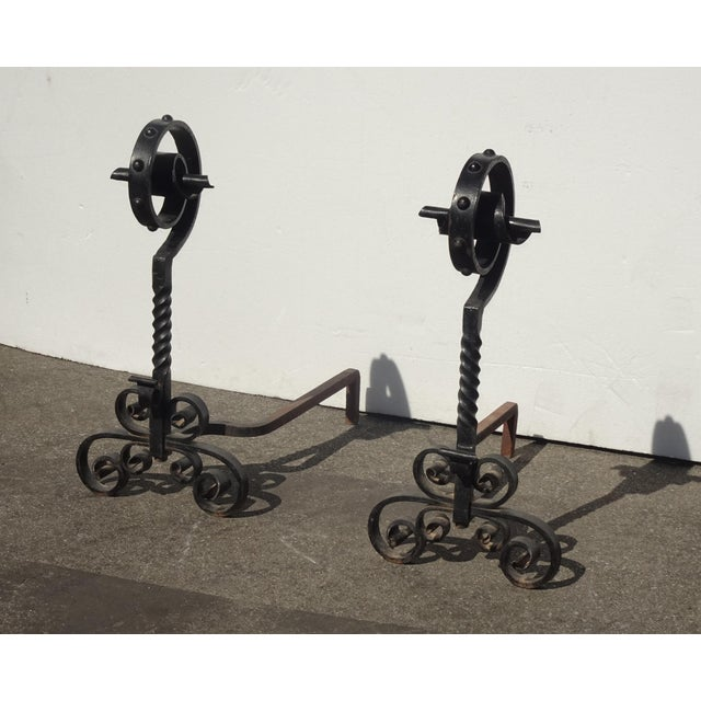 Vintage Black Wrought Iron Spanish Style Andirons W Decorative Cross Bar For Sale - Image 4 of 12