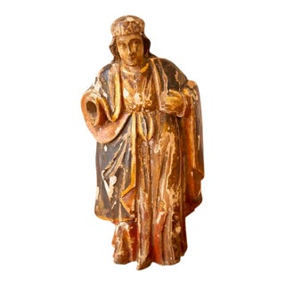 18th Century Hand-Carved Wood Polychrome Religious Statue For Sale