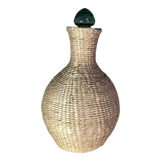 Seagrass Wrapped Demijohn Jug With Glass Stopper