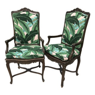 Vintage Coastal Regency Custom Upholstered French Carved Chairs-A Pair For Sale