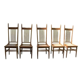 Caned Seats & Oak Spindle High Back Chairs - Set of 5