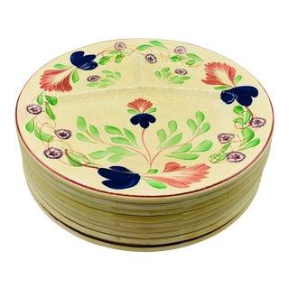 Antique English Stick Splatterware Grill Plates - Set of 9 For Sale