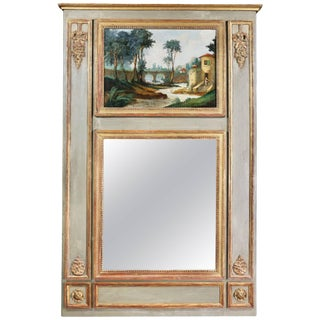 Louis XVI Style Giltwood and Painted Trumeau Mirror For Sale
