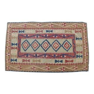 Vintage Hand Woven Turkish Flat Weave Wool Area Kilim Rug - 3′4″ × 5′6″ For Sale