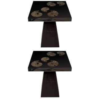Pair of Cast Black Resin and Ammonite Side Tables by Michael Laut For Sale