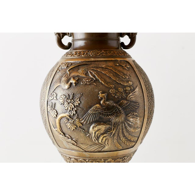 Japanese Bronze Urn Vase Mounted as Table Lamp For Sale - Image 9 of 13