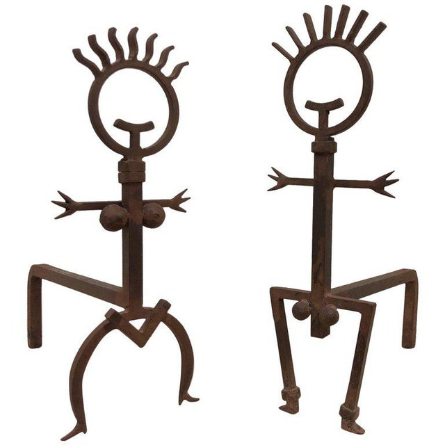 Pair of Brutalist Male and Female Fireplace Andirons For Sale In Palm Springs - Image 6 of 6