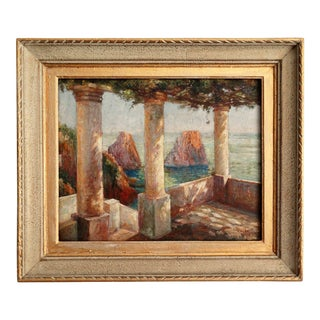 French Impressionism Signed Oil Painting, Terrace View Capri, Dated 1936 For Sale