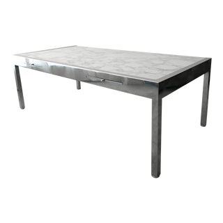 Monumental Marble and Stainless Steel Executive Desk by Leon Rosen for Pace For Sale