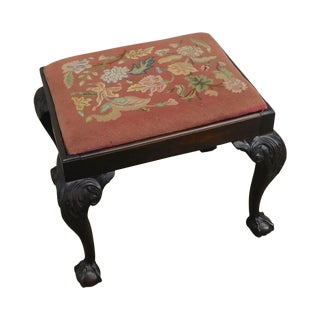 Chippendale Style Antique Mahogany Ball & Claw Needlepoint Stool For Sale