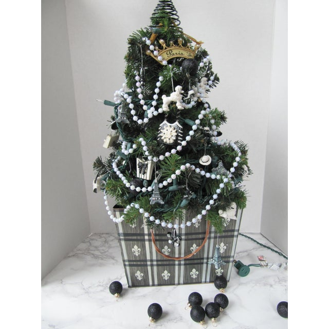 Whimsical tabletop Paris themed Christmas tree in a black and white hand  painted tole container with - Paris Themed Christmas Tree In Black & White Fleur De Lis Tole