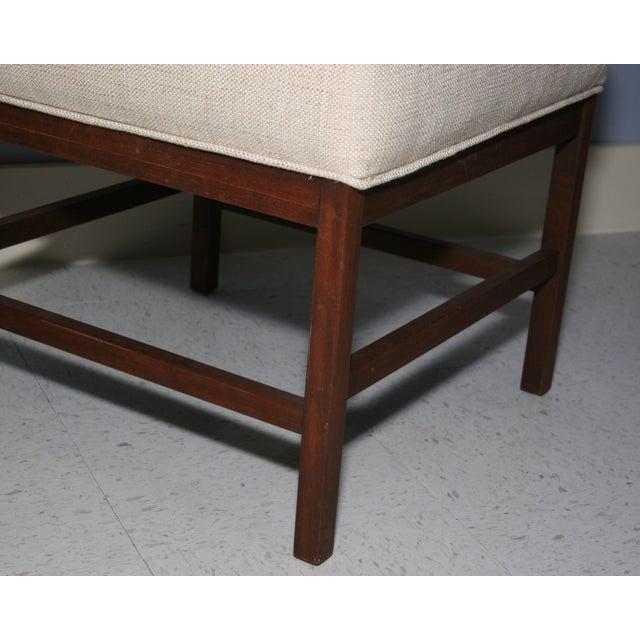 Mid-Century Walnut Frame Upholstered Stools - Pair - Image 4 of 6