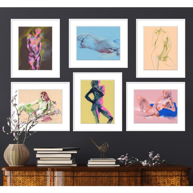 DESCRIPTION: Figures, Set of 6 by David Orrin Smith in White Frame, Small Art Print SPECIFICATIONS: Type: Giclée Art Print...