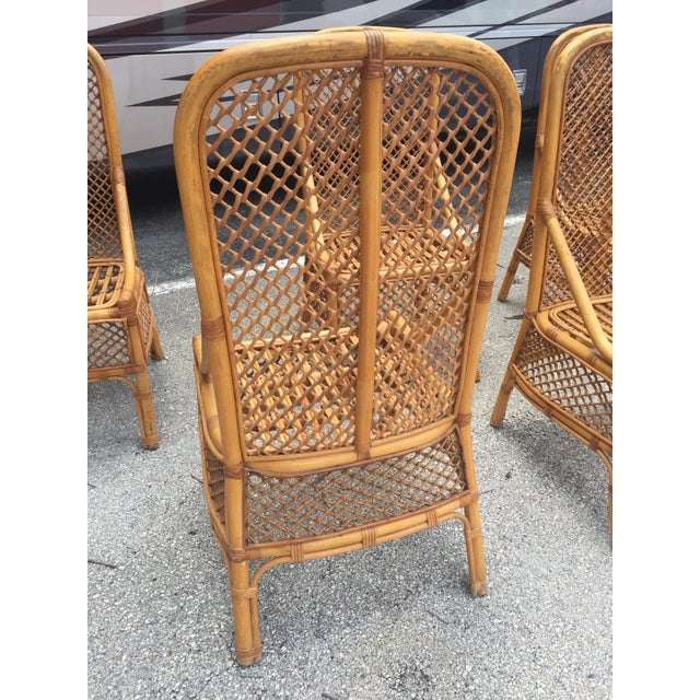 1970s 1970s Vintage Chippendale Style Rattan Bamboo Dining Chairs- Set of 6 For Sale - Image 5 of 11