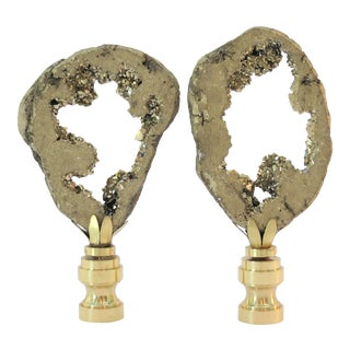 Brilliant Gold Geode Cluster Gemstone Finials by C. Damien Fox, a Pair. For Sale