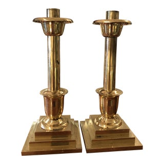 1970s 'Sudbury' Brass Altar Candle Sticks - a Pair For Sale