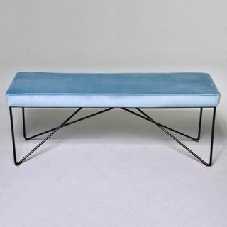 Italian Mid Century Style Bench With Blue Velvet Upholstery Preview