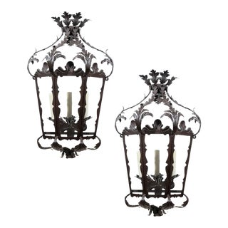 Pair of Italian Rococo Style Three-Light Wrought-Iron Lantern-Shaped Sconces For Sale
