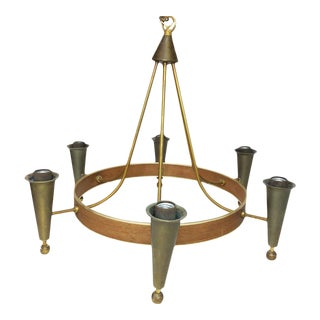 Mid-Century Modern Teak Lightoiler Chandelier Light by Gerald Thurston For Sale