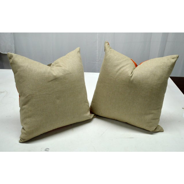 Multicolor Inlaid Square Pillows - A Pair For Sale - Image 5 of 5