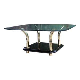 1980s Postmodern Glass Lucite & Brass Coffee Table For Sale