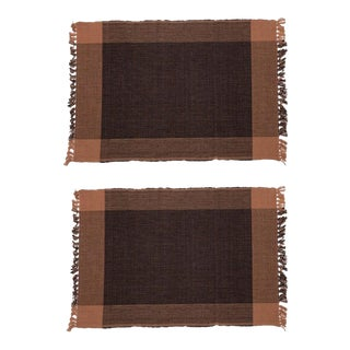 Two-Tone Placemats Black & Coffee - A Pair For Sale