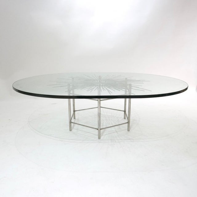Silver Bespoke Brutalist Welded Steel Sunburst With Thick Oval Glass Top Table For Sale - Image 8 of 11