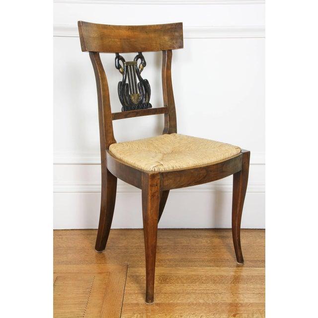 Italian Set of Six Italian Neoclassic Walnut and Ebonized Dining Chairs For Sale - Image 3 of 10
