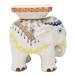 Vintage Hand Painted Elephant Garden Stool For Sale