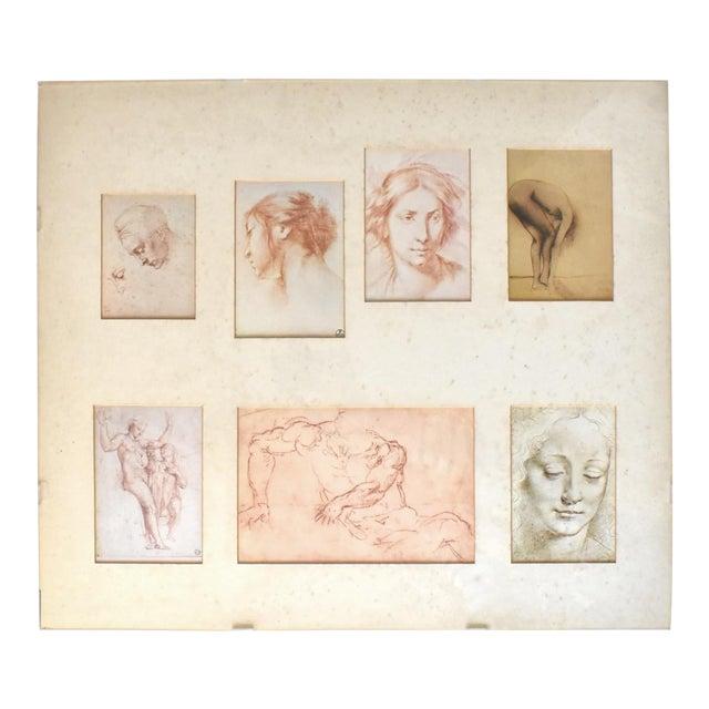 Vintage Framed Old Masters Figural and Portrait Sketches For Sale