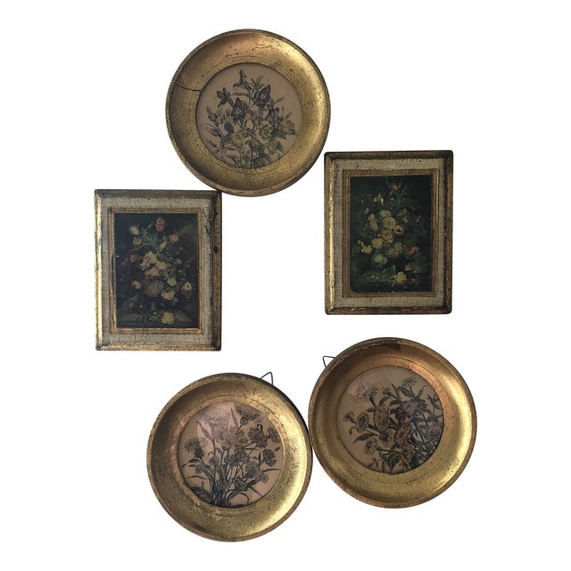 Italian Florentine Wooden Wall Collection - Set of 5 For Sale