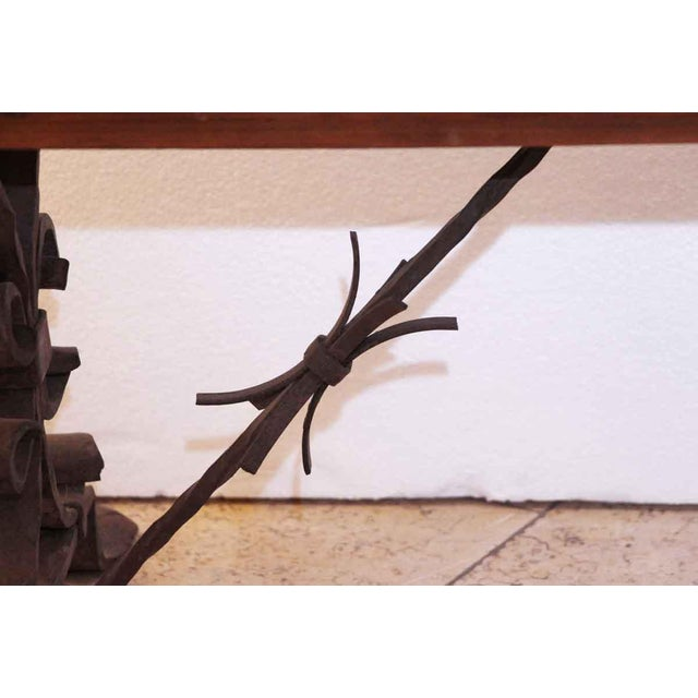 20th Century Traditional Wooden Bench With Wrought Iron Legs For Sale In New York - Image 6 of 7