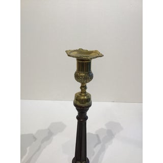 George III Tall Mahogany and Brass Candlesticks - a Pair Preview