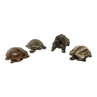 Wood, Silver, & Ceramic Turtles Figurines - Set of 4 For Sale