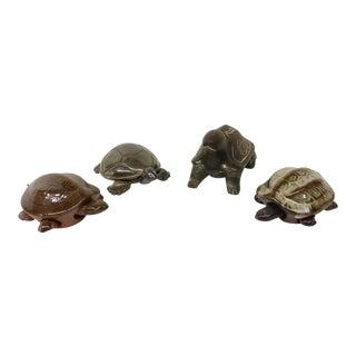 Wood, Silver, & Ceramic Turtles Figurines - Set of 4