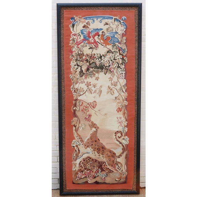 Vintage Framed Stark Romanian Aubusson Tapestry Rug With Leopards For Sale - Image 13 of 13
