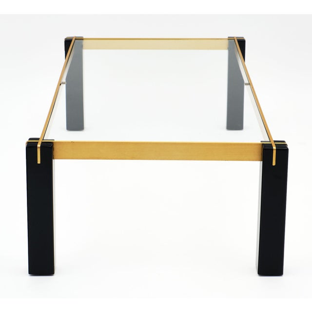 French Modernist Brass and Black Coffee Table For Sale - Image 3 of 9