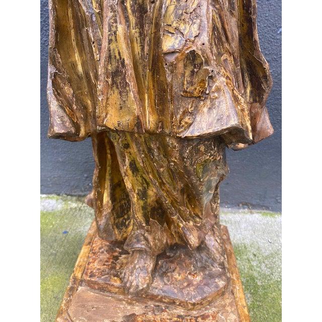 18th Century Italian Giltwood Figure For Sale - Image 9 of 13
