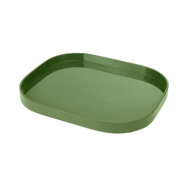 Contemporary Miles Redd Collection Medium Stacking Tray in Lettuce Green For Sale - Image 3 of 3
