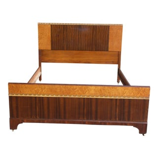 Vintage Art Deco Walnut Full Double Bed For Sale