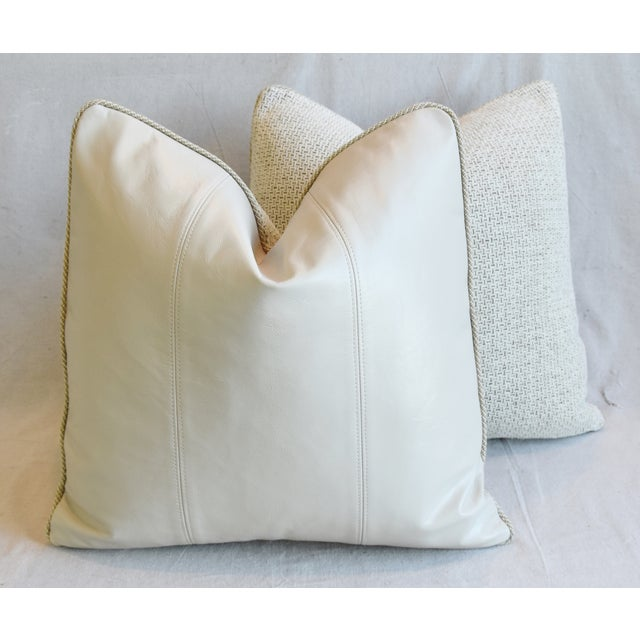 """Creamy Italian Tanned Leather Feather/Down Pillows 21"""" Square - Pair For Sale - Image 11 of 13"""